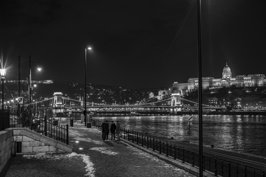 The canal in Budapest in winter