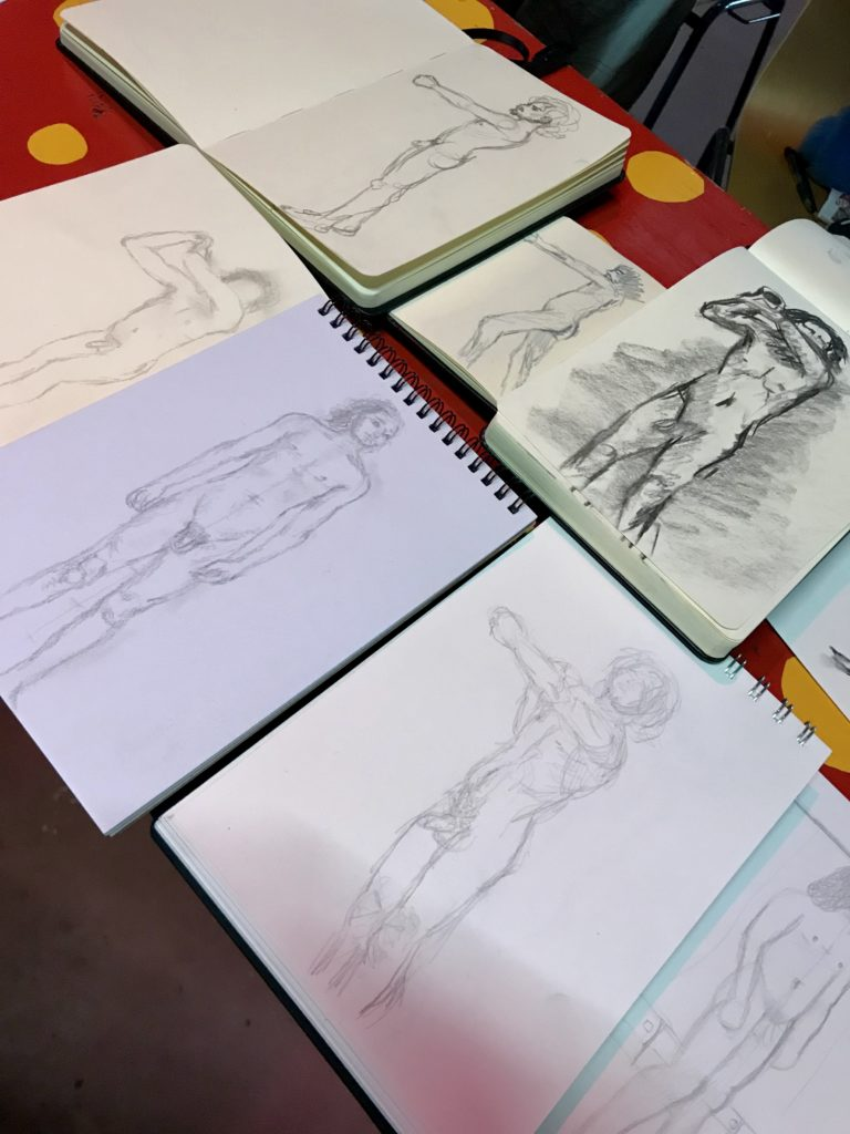 Sketches of naked man