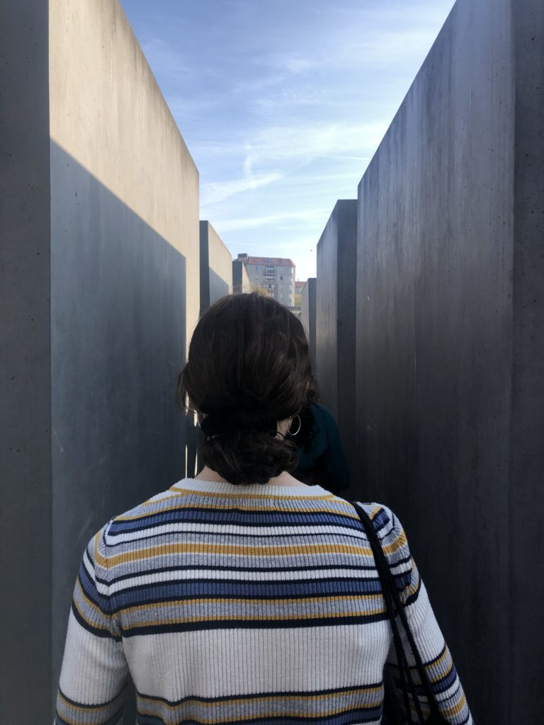 Young woman in Berlin at the memorial to Europe's killed Jews