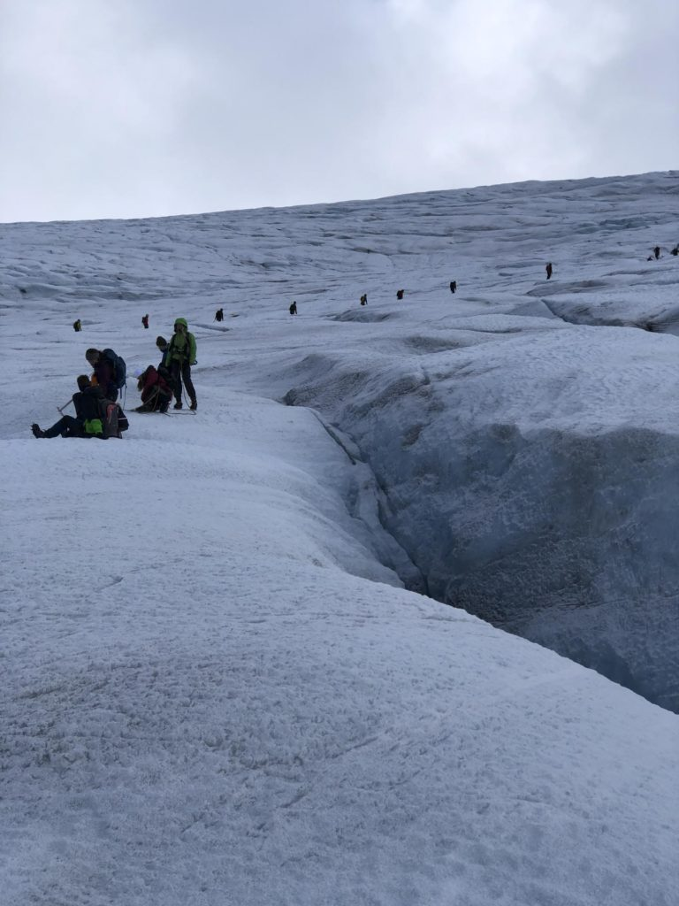 Overview image of many people on a glacier