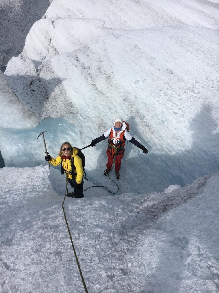 Two young women on a glacier
