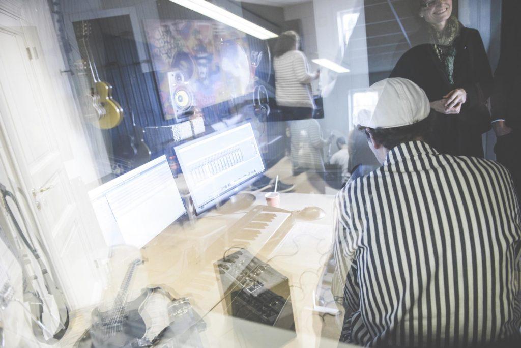 Window to control room in music studio