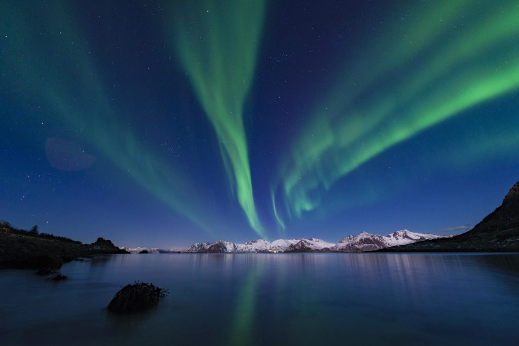 Northern lights over the sea in Lofoten