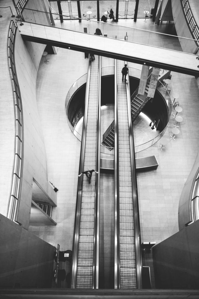Symmetrical image of escalators in The Black Diamond in Copenhagen