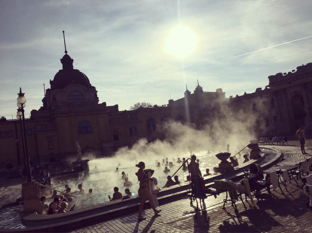 Outdoor hot tub in Budapest