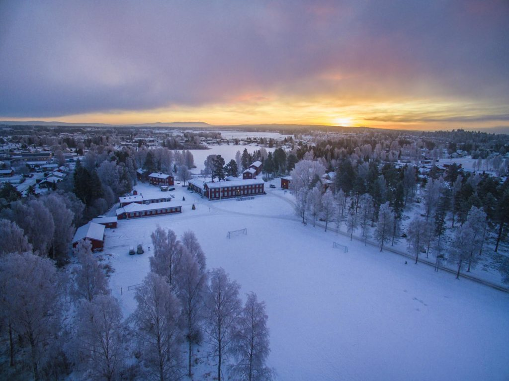 Drone photo of Elverum Folk High School at sunrise