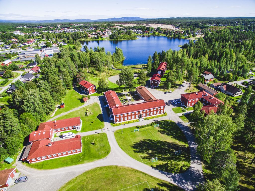 Drone photo of the buildings at Elverum Folk High School