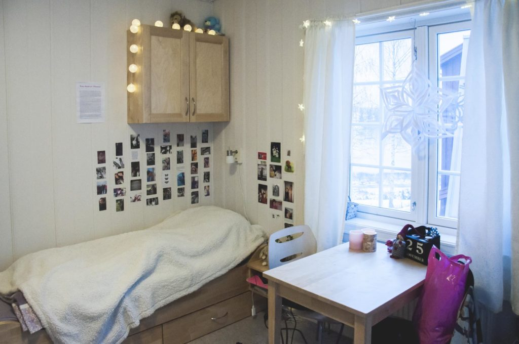 Student room at Elverum Folk High School