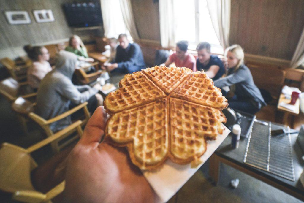 Hand holding waffle