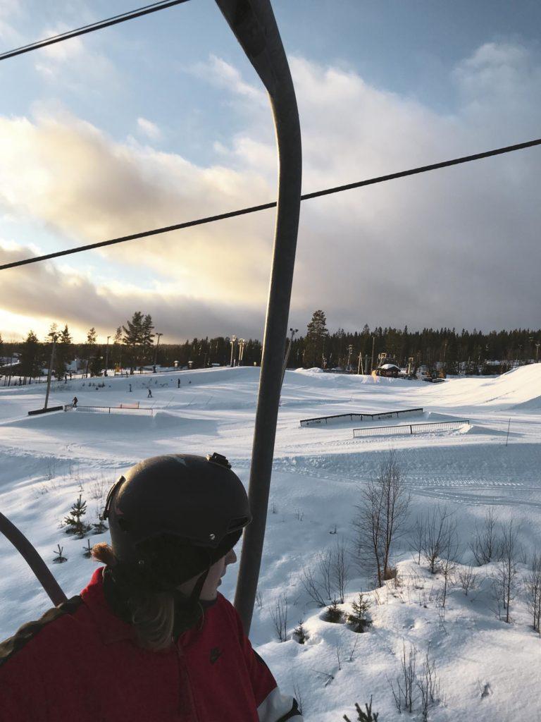 Utsikt over Trysil park fra skiheisen
