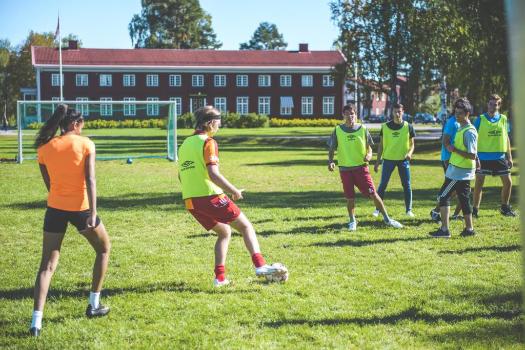 The football field at Elverum Folk High School