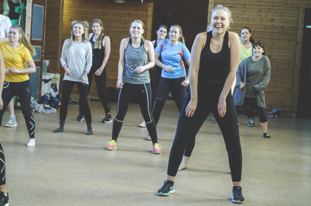 Young people are dancing Zumba