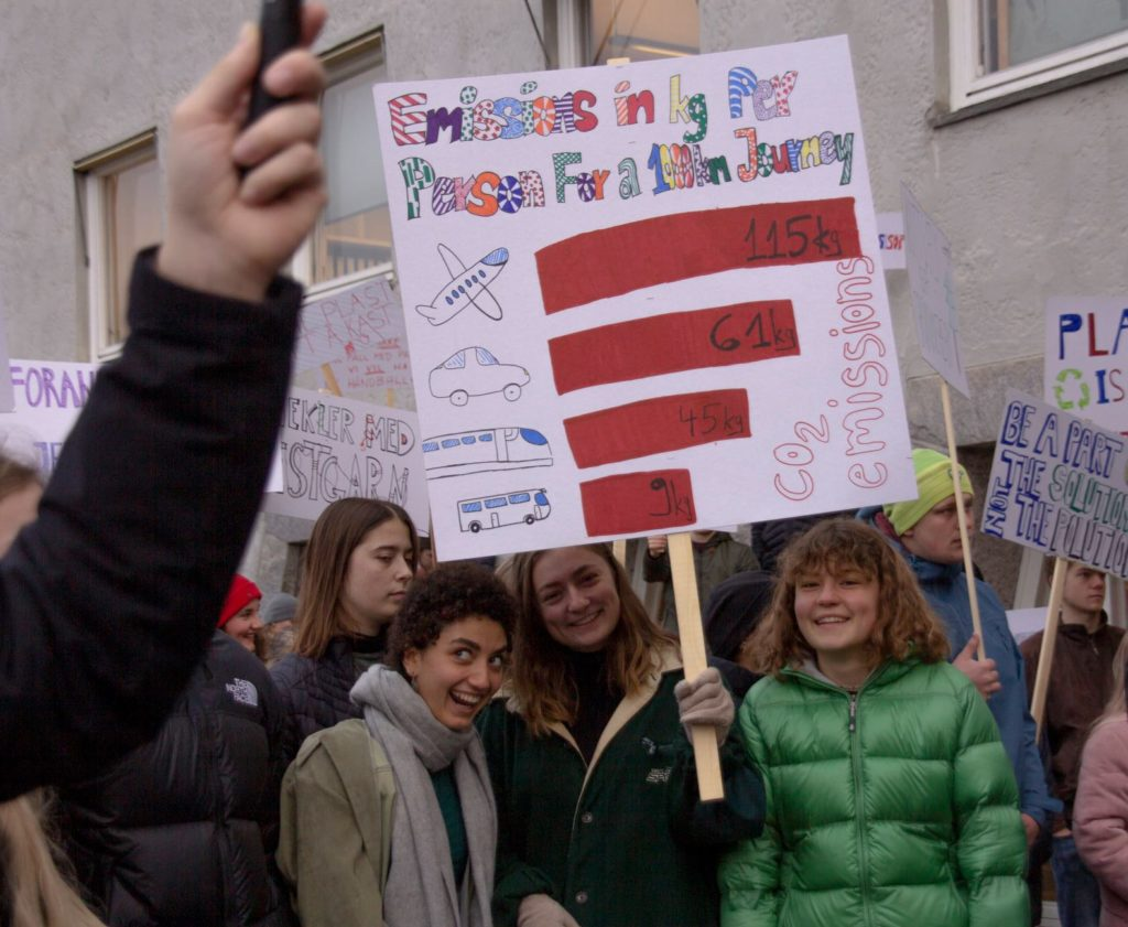 Unge mennesker marsjerer for klima