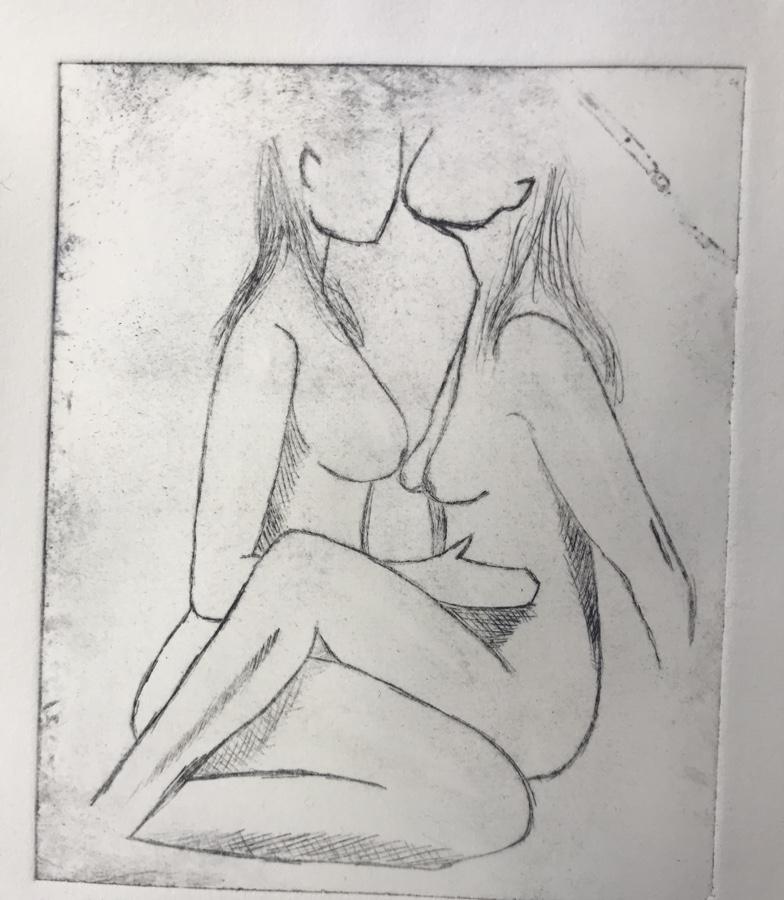 Dyptrykk av nakne kvinner